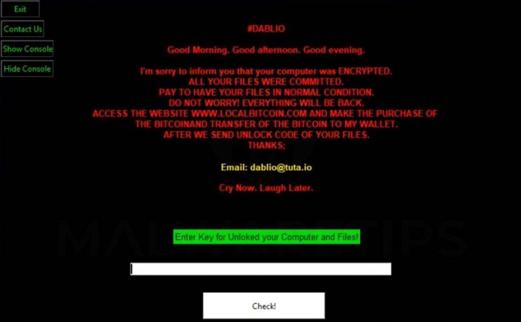 remove Dablio ransomware